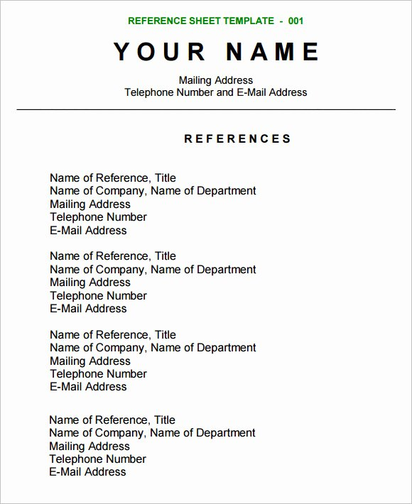 Resume Reference Sheet Example Awesome Free 12 Sample Reference Sheets In Google Docs