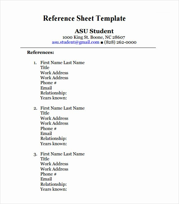 Resume Reference Sheet Example Awesome Reference Sheet Template 9 Download Free Documents In Pdf
