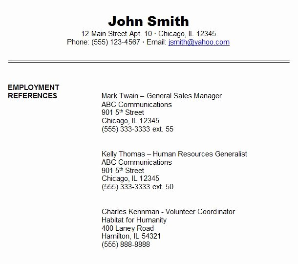 Resume Reference Sheet Example Elegant Job Reference Example