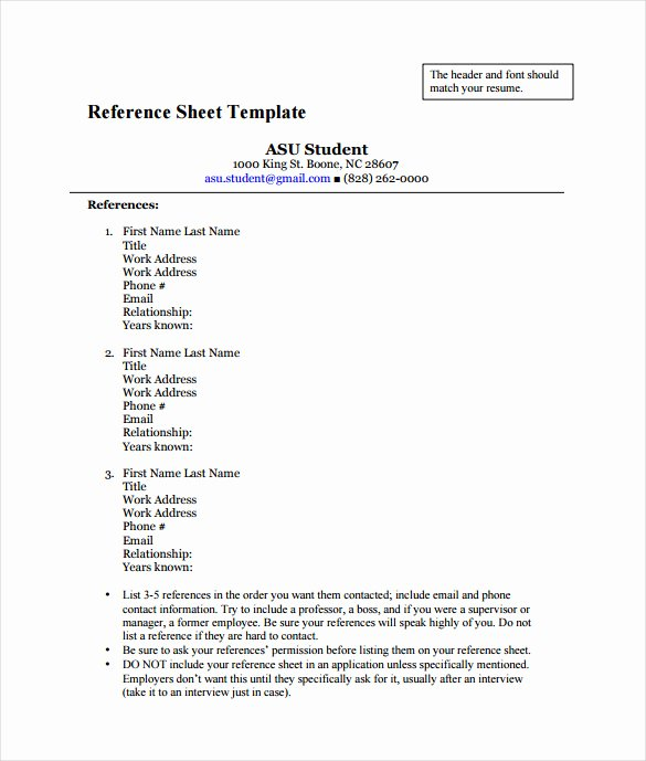 Resume Reference Sheet Example New Reference Sheet Template