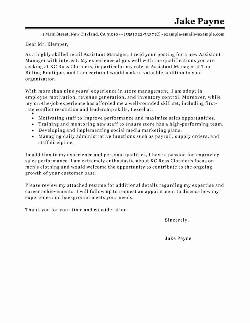 Retail Cover Letter Samples Inspirational Outstanding Retail Cover Letter Examples & Templates From