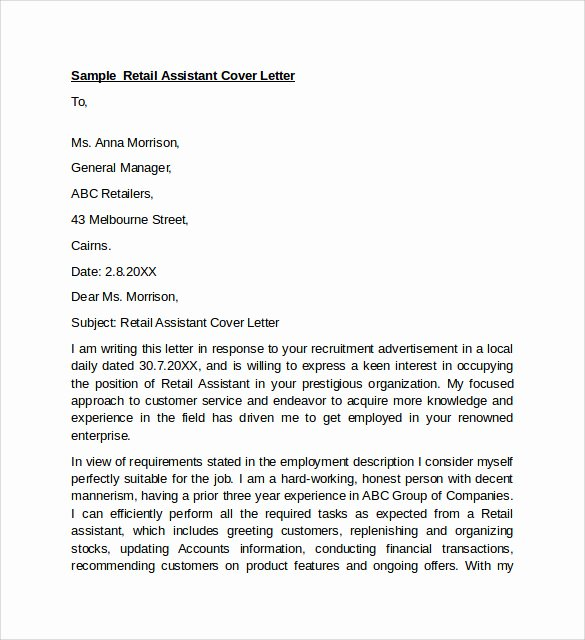 Retail Cover Letter Samples Lovely Sample Retail Cover Letter Template 9 Download Free