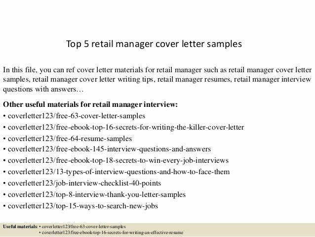 Retail Cover Letter Samples Luxury top 5 Retail Manager Cover Letter Samples
