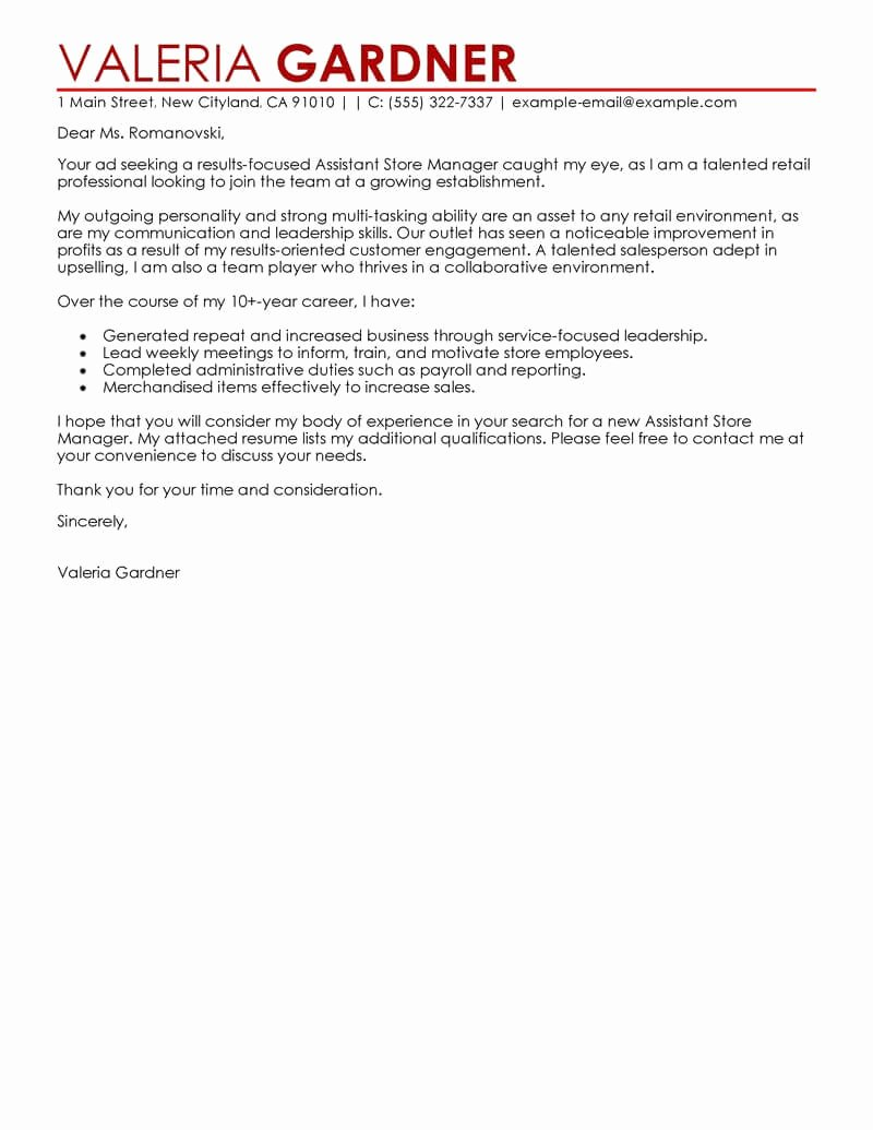 Retail Covering Letter Sample Elegant Amazing Retail assistant Store Manager Cover Letter