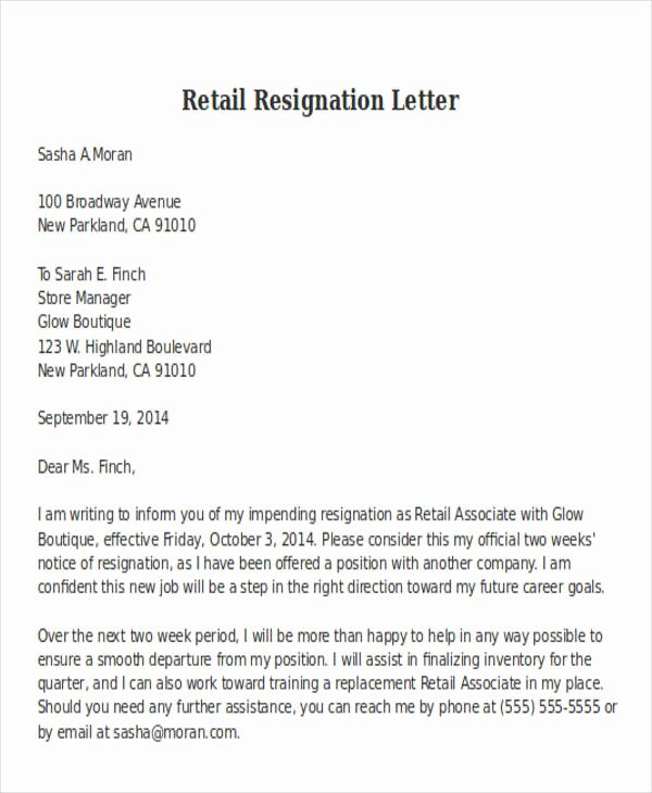Retail Letter Of Resignation Awesome 11 Retail Resignation Letter Template Free Word Pdf
