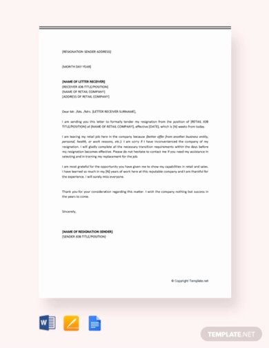 Retail Letter Of Resignation Awesome 6 Retail Resignation Letter Templates Google Docs Word