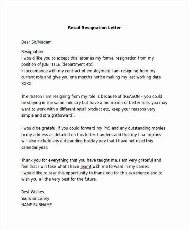 Retail Letter Of Resignation Elegant Basic Resignation Letter Sample 6 Documents In Pdf Word