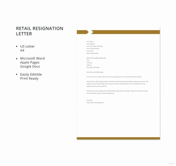 Retail Letter Of Resignation Elegant Retail Resignation Letter Template