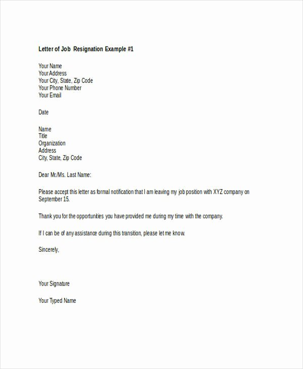 Retail Letter Of Resignation Lovely Free 49 Resignation Letter Examples In Pdf Doc