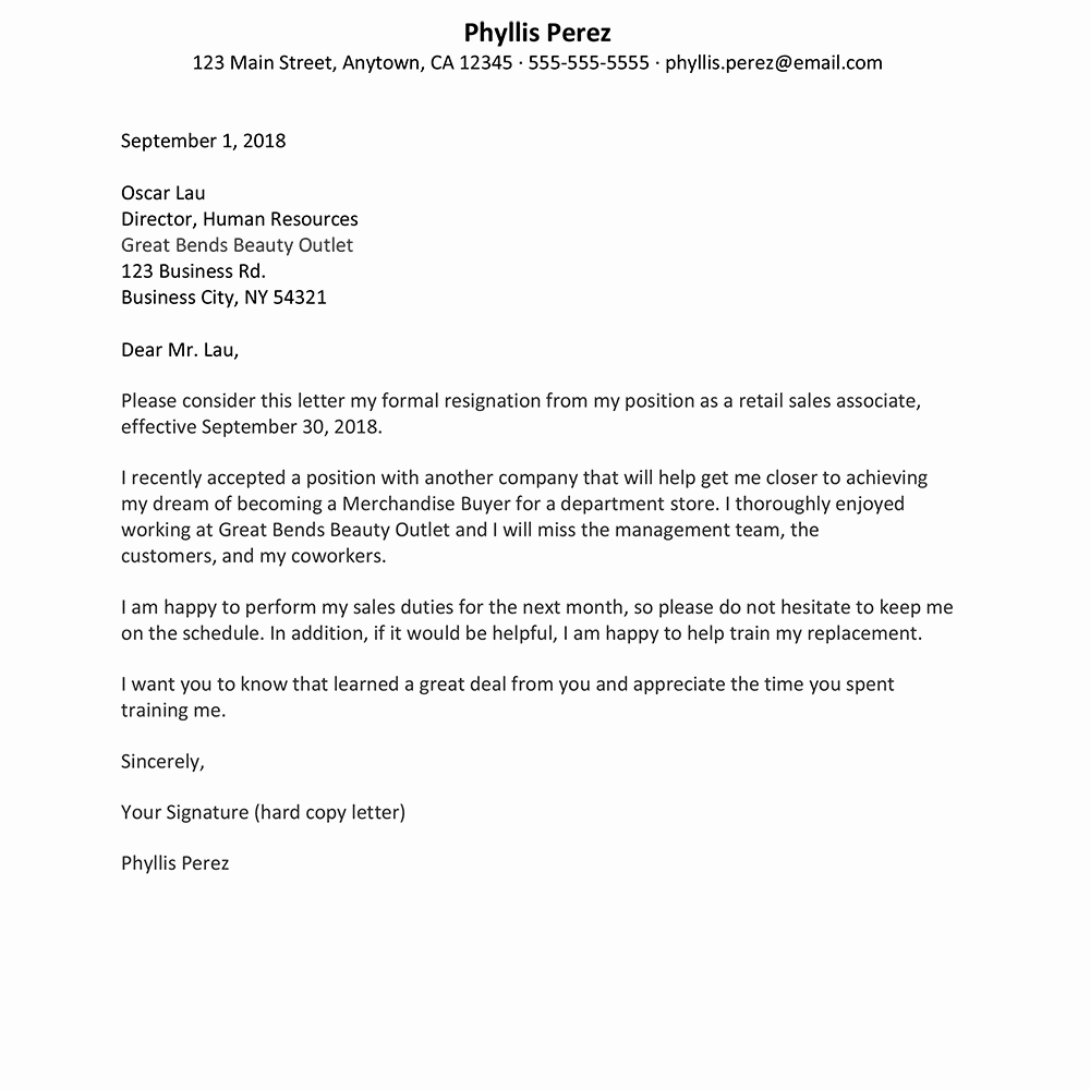 Retail Letter Of Resignation Lovely Retail Job Resignation Letter Sample