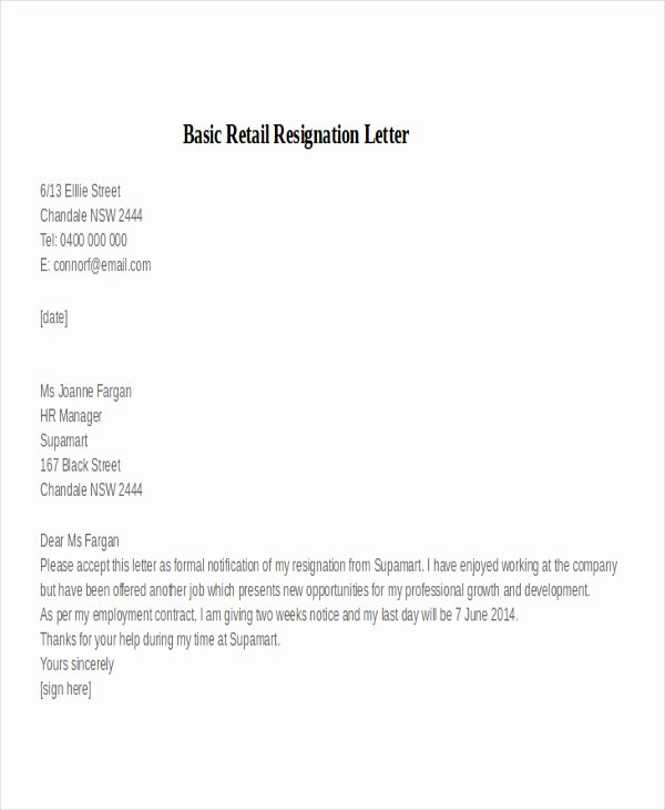 Retail Letter Of Resignation Luxury 30 Resignation Letter Examples