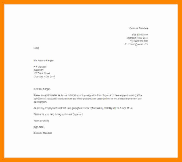 Retail Letter Of Resignation New 11 Resignation Letter 2 Week Notice Sample