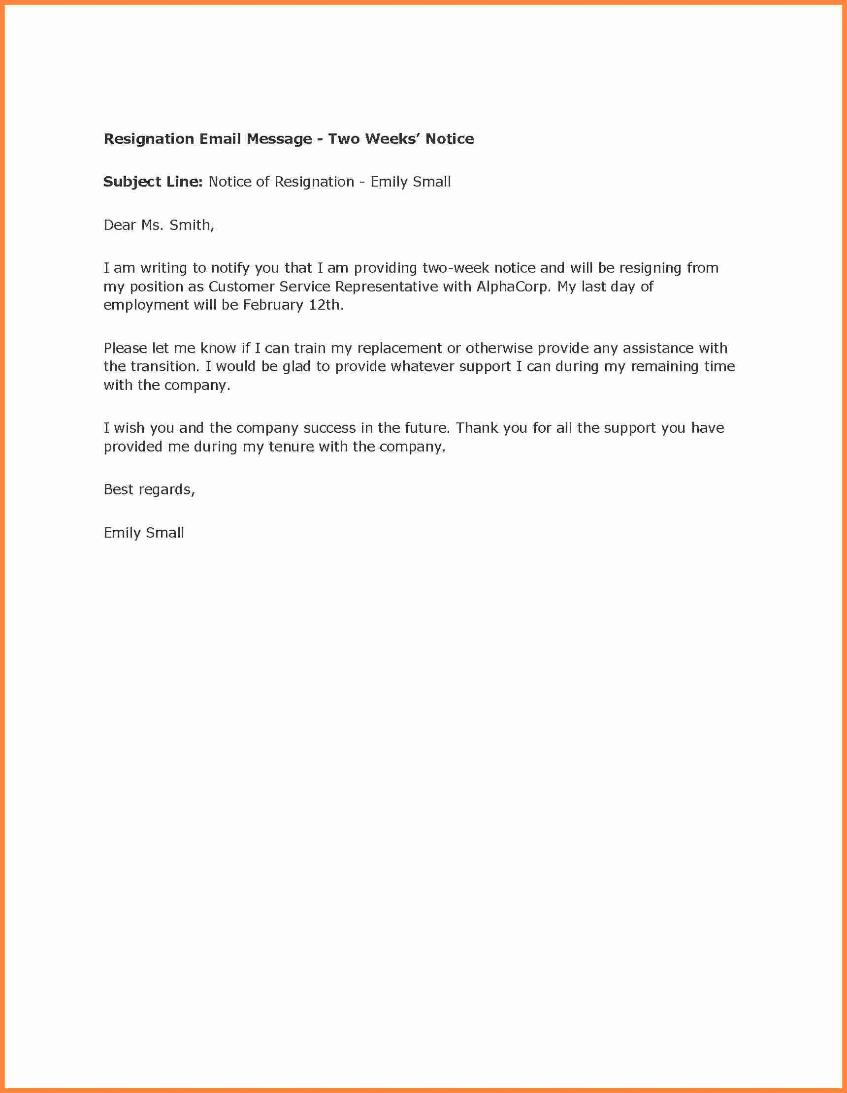 Retail Letter Of Resignation New 9 2 Weeks Notice Letter Sample Retail