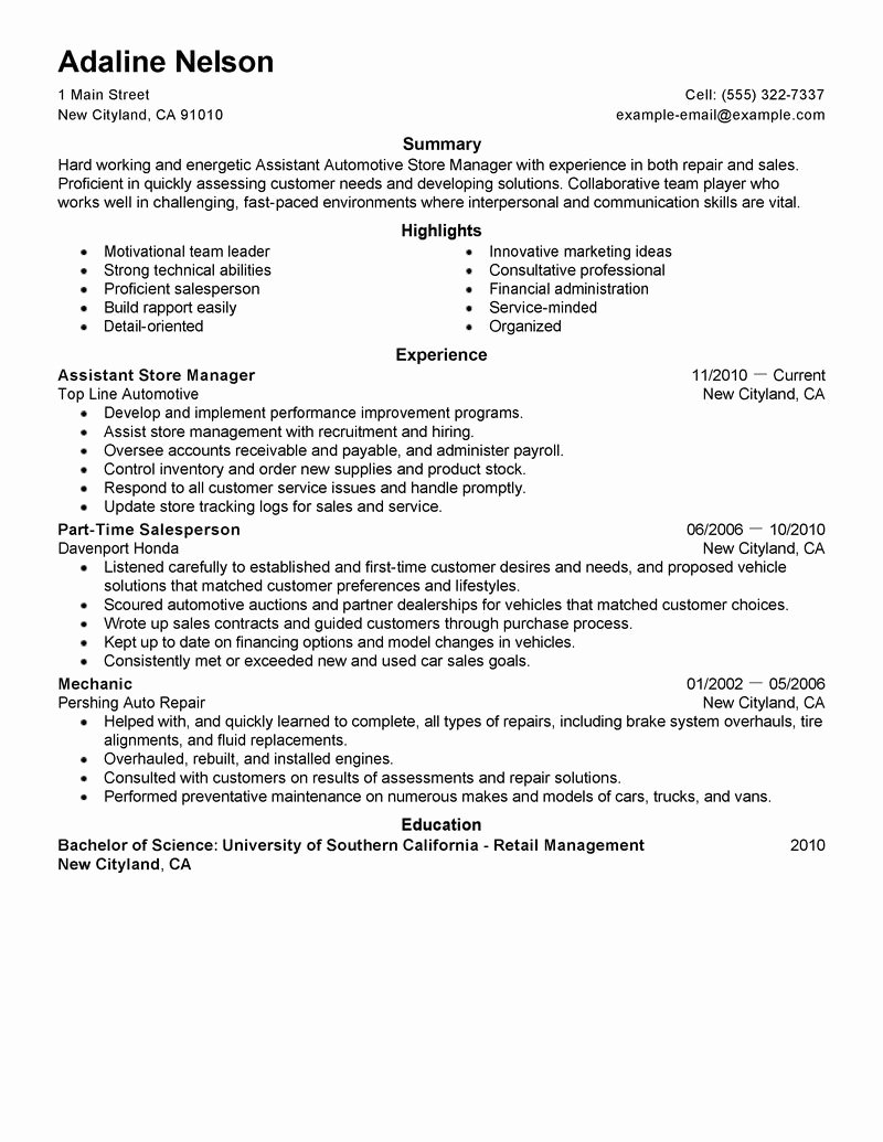 Retail Store Manager Resume Samples Awesome assistant Store Manager Resume Example