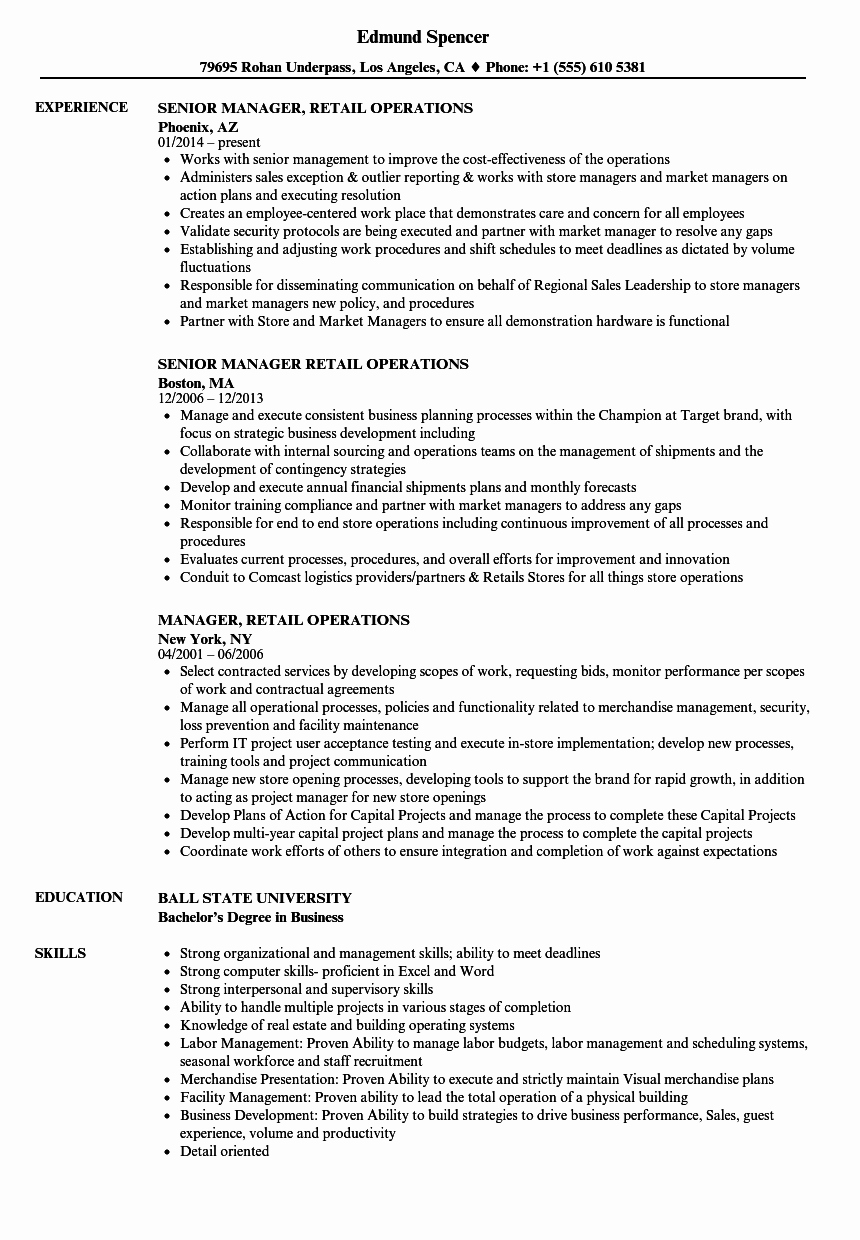 Retail Store Manager Resume Samples Awesome Manager Retail Operations Resume Samples