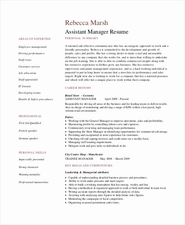 Retail Store Manager Resume Samples Beautiful 8 Retail Manager Resumes Free Sample Example format