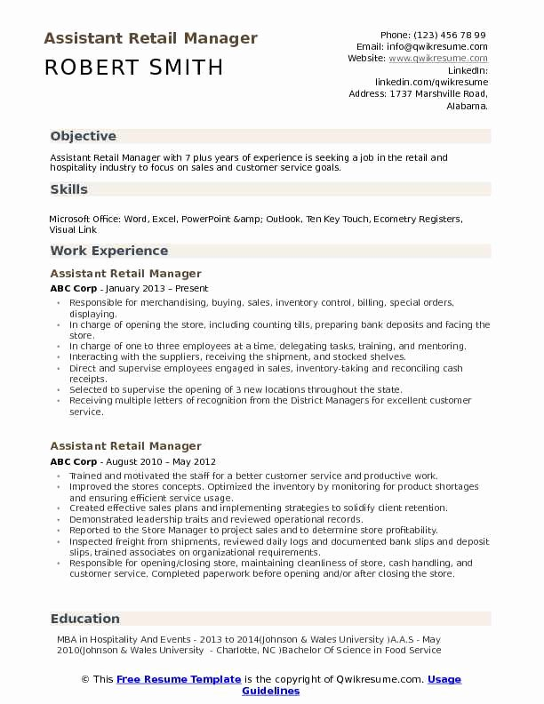 Retail Store Manager Resume Samples Elegant Retail Resume Samples Examples and Tips