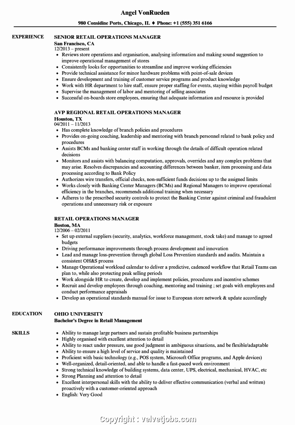 Retail Store Manager Resume Samples Fresh Best Retail Operations Manager Resume Sample Retail