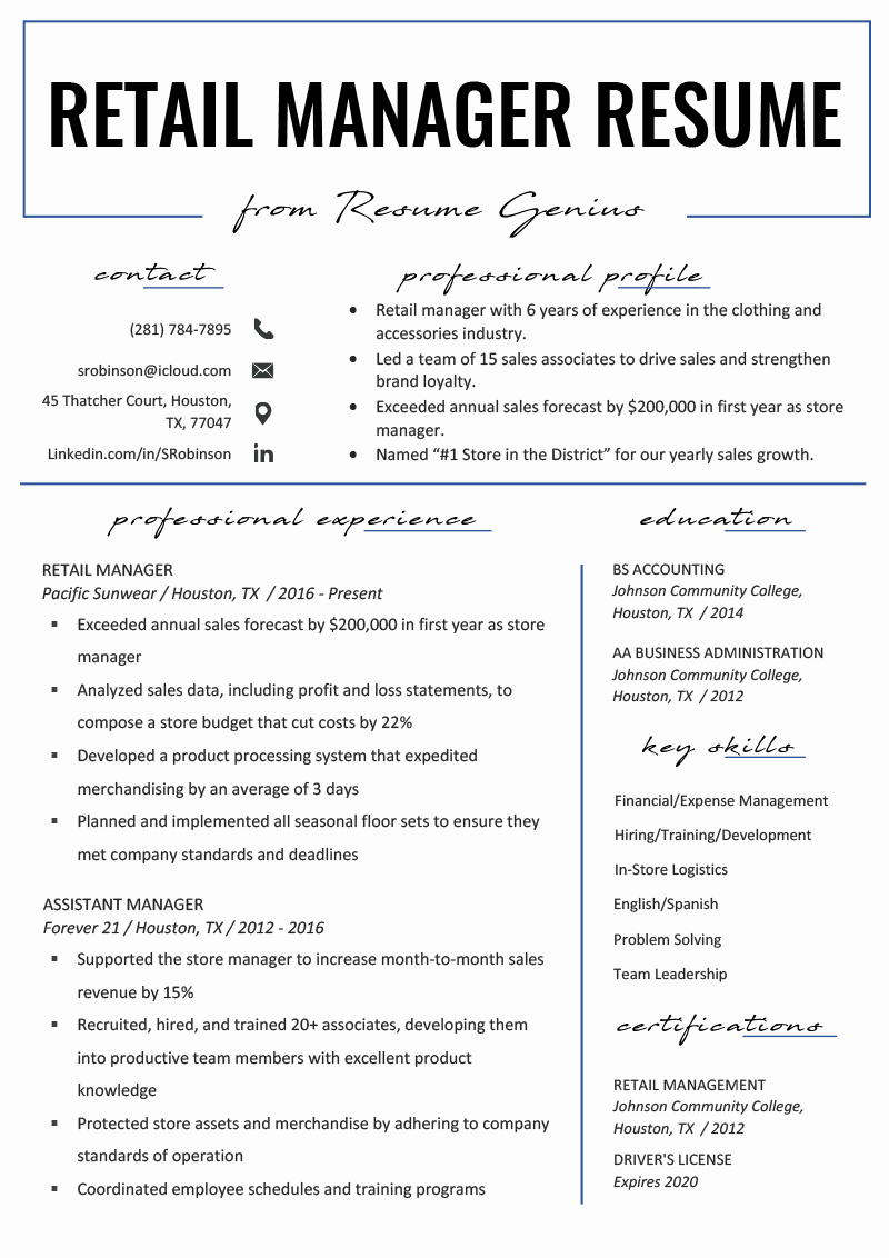 Retail Store Manager Resume Samples Fresh Retail Manager Resume Example & Writing Tips