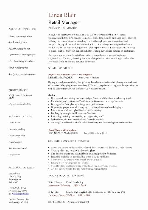 Retail Store Manager Resume Samples Inspirational Retail Manager Resume Example Icebergcoworking
