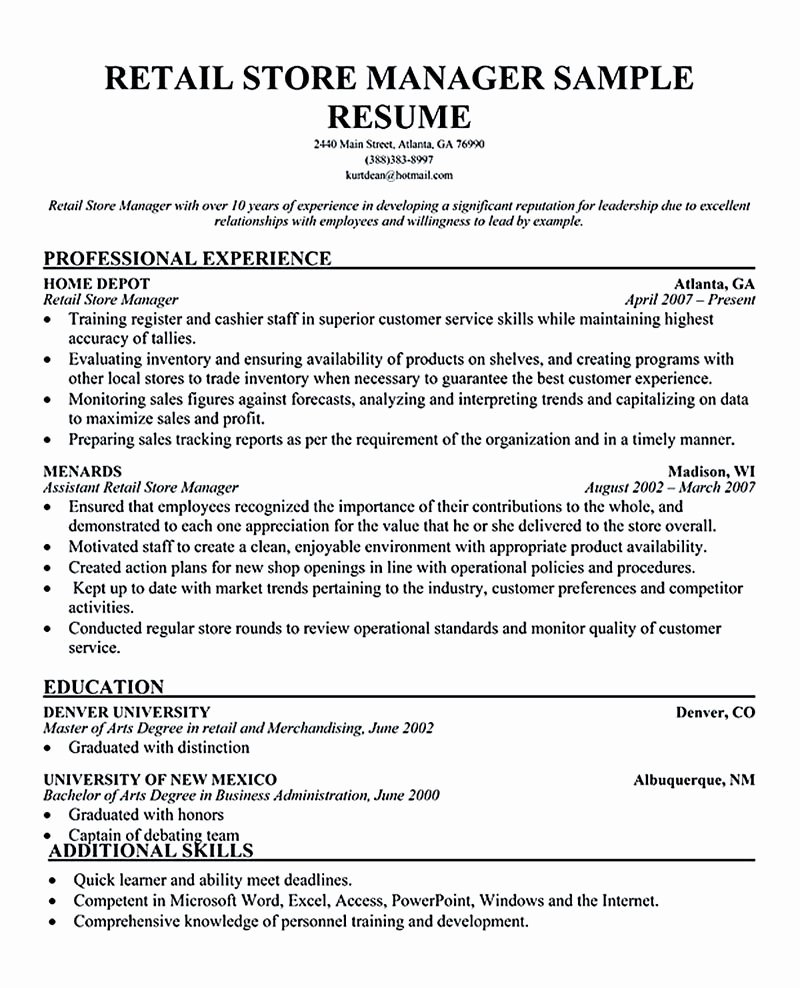Retail Store Manager Resume Samples Inspirational Retail Manager Resume Examples Retail Manager Resume is