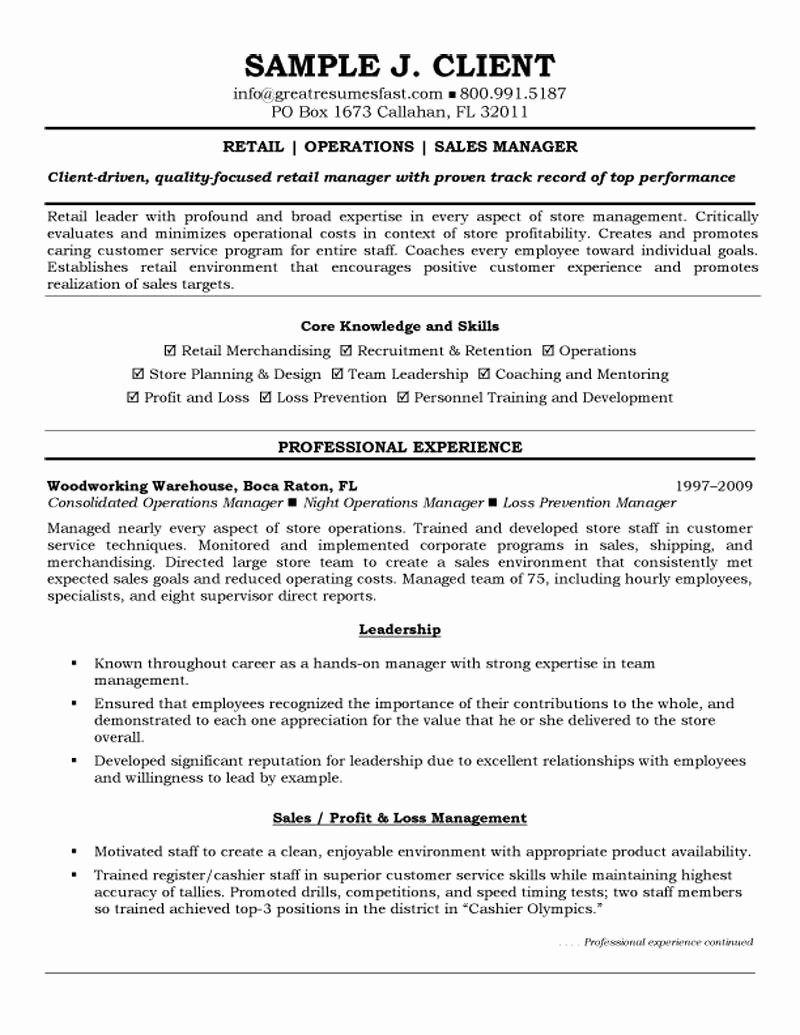 Retail Store Manager Resume Samples Inspirational Retail Operations and Sales Manager Resume