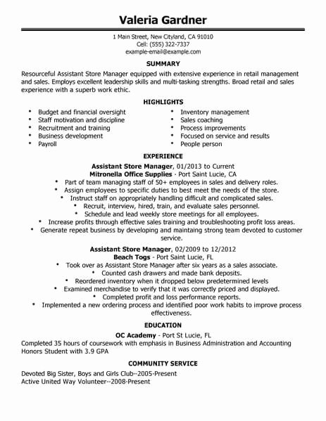 Retail Store Manager Resume Samples New Best Retail assistant Store Manager Resume Example