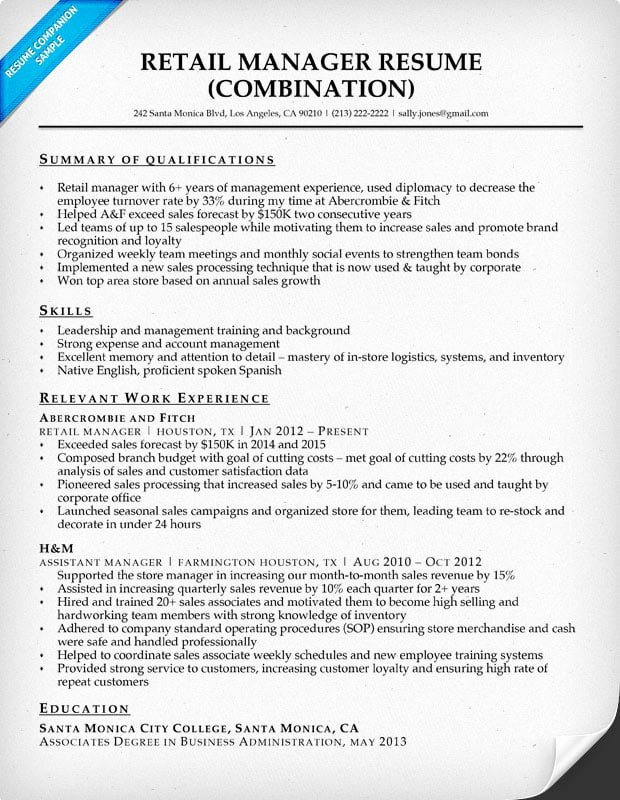 Retail Store Manager Resume Samples New Retail Manager Resume Sample & Writing Tips