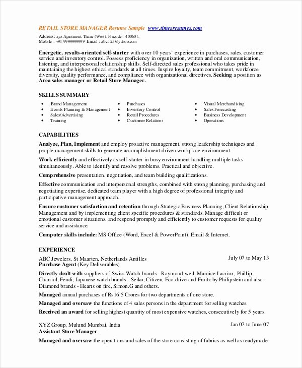 Retail Store Manager Resume Samples Unique 8 Retail Manager Resumes Free Sample Example format