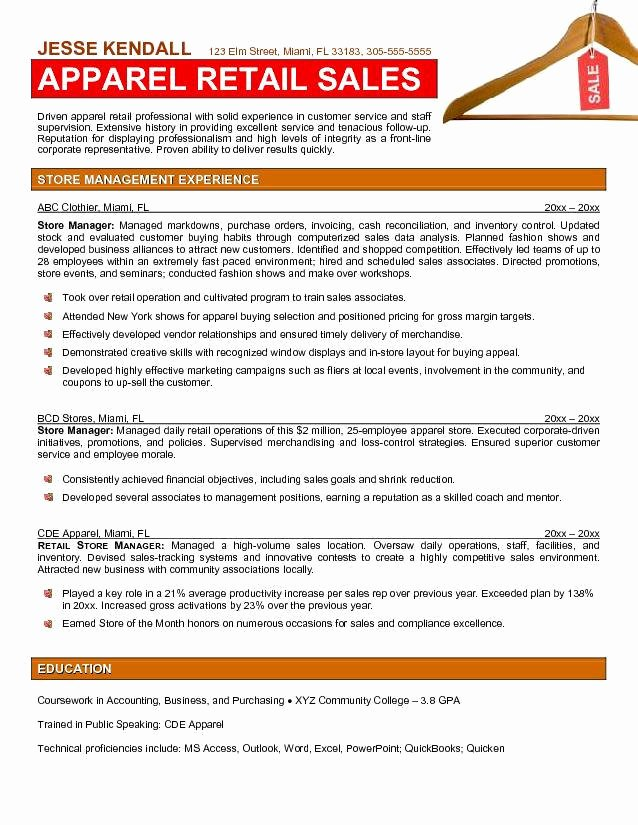 Retail Store Manager Resume Samples Unique Retail Store Manager Resume