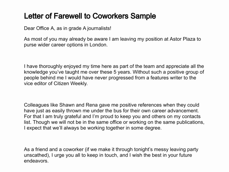 Retirement Goodbye Letter to Coworkers Awesome Letter Of Farewell