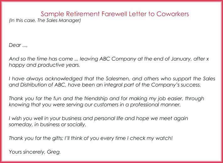 Retirement Goodbye Letter to Coworkers Best Of Email to Colleague Sample