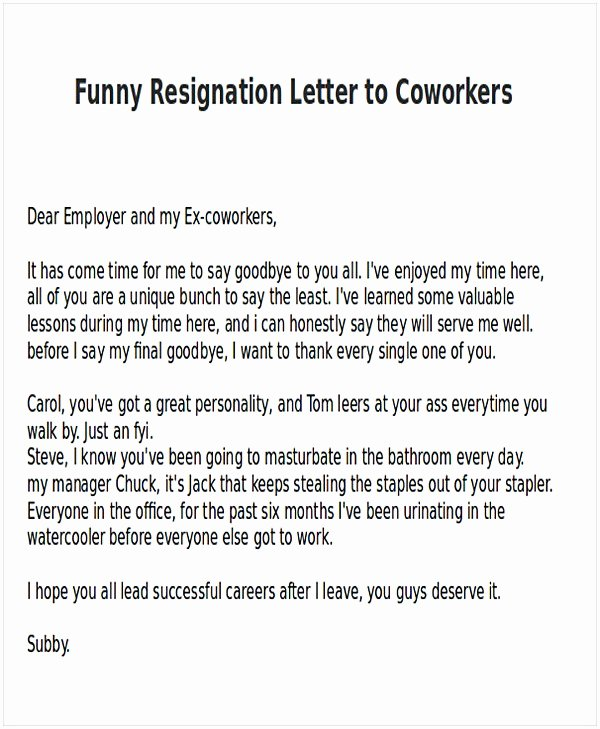 Retirement Goodbye Letter to Coworkers Inspirational Funny Resignation Letter