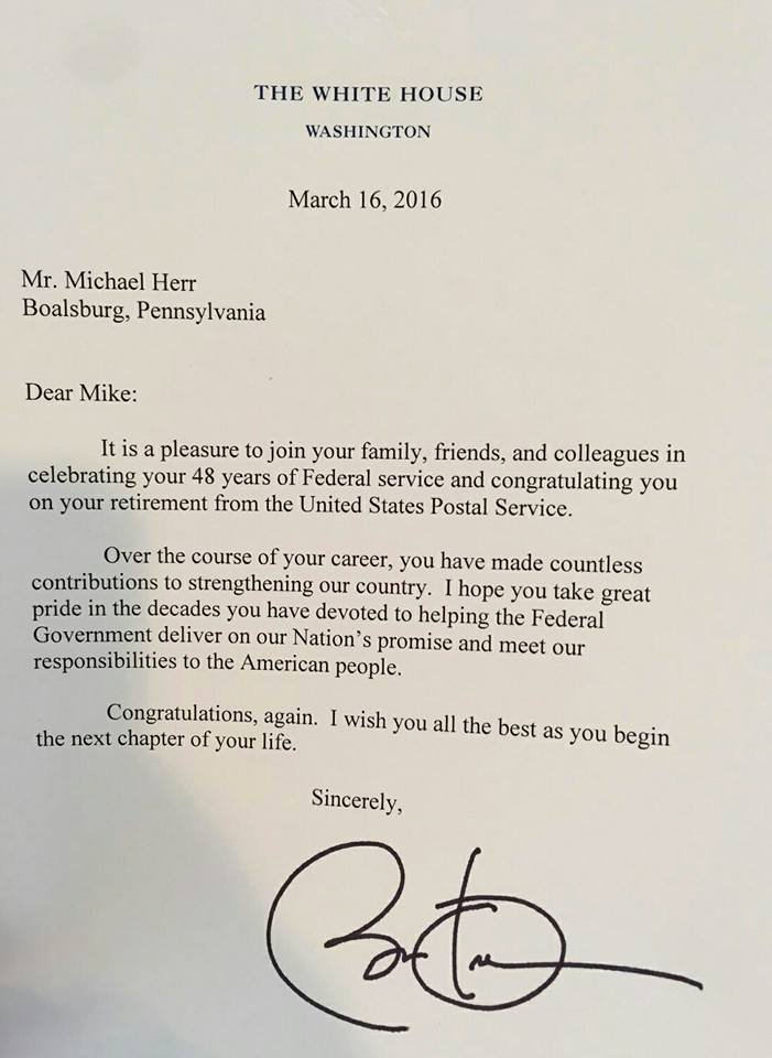 Retirement Letter Of Appreciation Fresh Mike the Mailman Receives Congratulatory Letter From