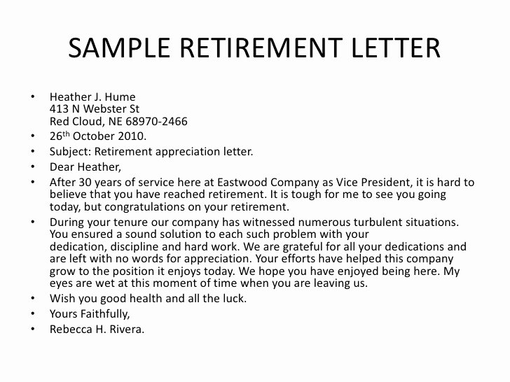 Retirement Letter Of Appreciation Inspirational Bsnsletters