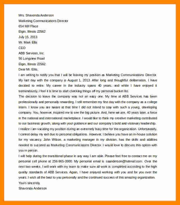 Retirement Letter Of Appreciation New 10 Retirement Resignation Letter to Employer