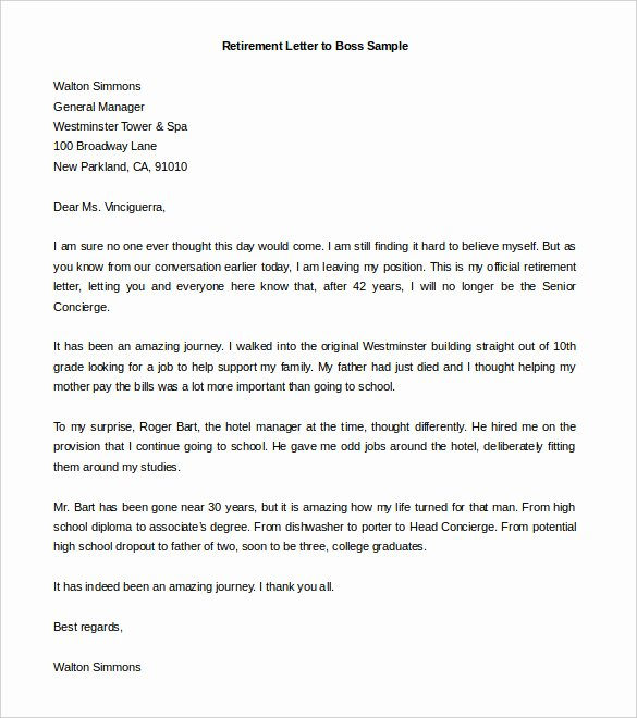 Retirement Letter Of Resignation Elegant Sample Retirement Letter