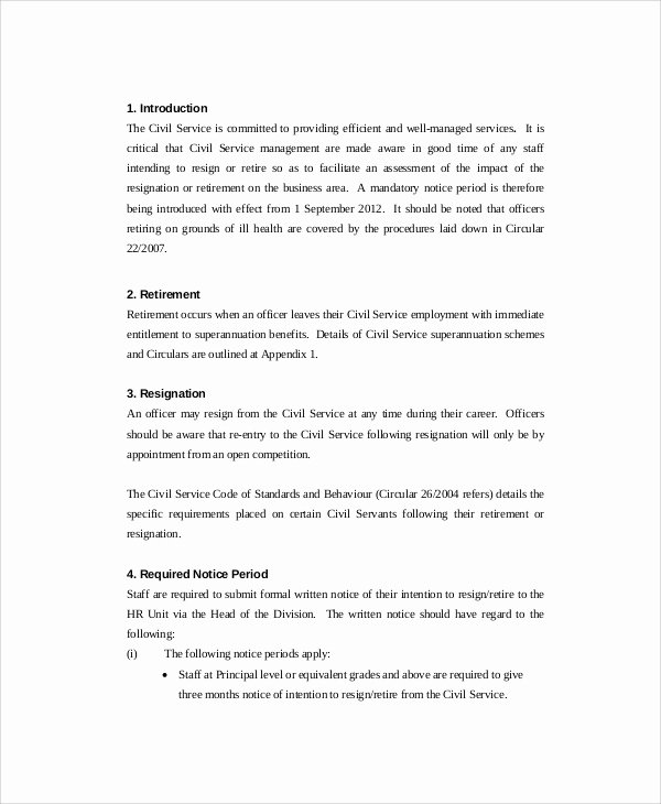 Retirement Letter Of Resignation Fresh Sample Retirement Resignation Letter 9 Documents In Pdf