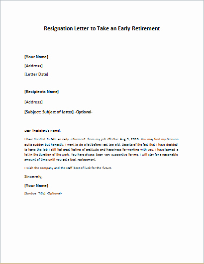 Retirement Letter Of Resignation Lovely Resignation Letter to Take An Early Retirement