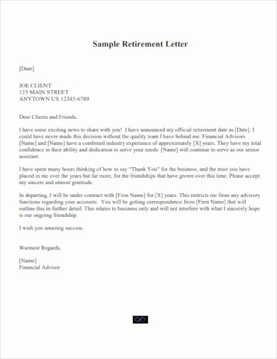Retirement Letter to Clients Beautiful 4 Sample Retirement Letter to Clients Pdf Doc