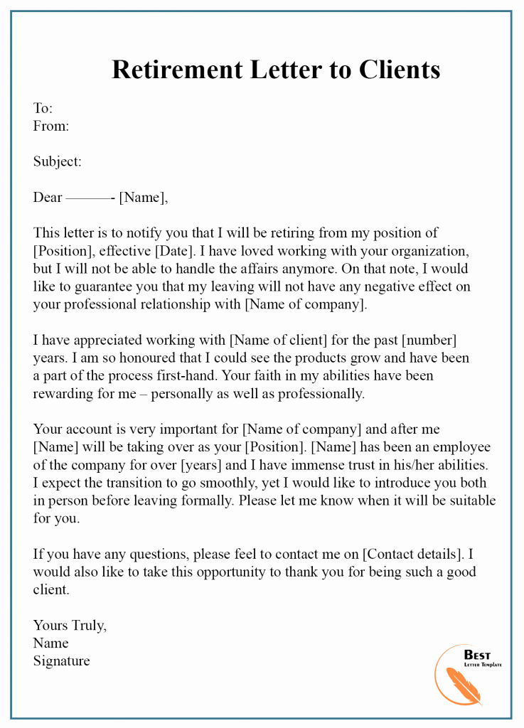 Retirement Letter to Clients Lovely 7 Free Retirement Letter Template – format Sample