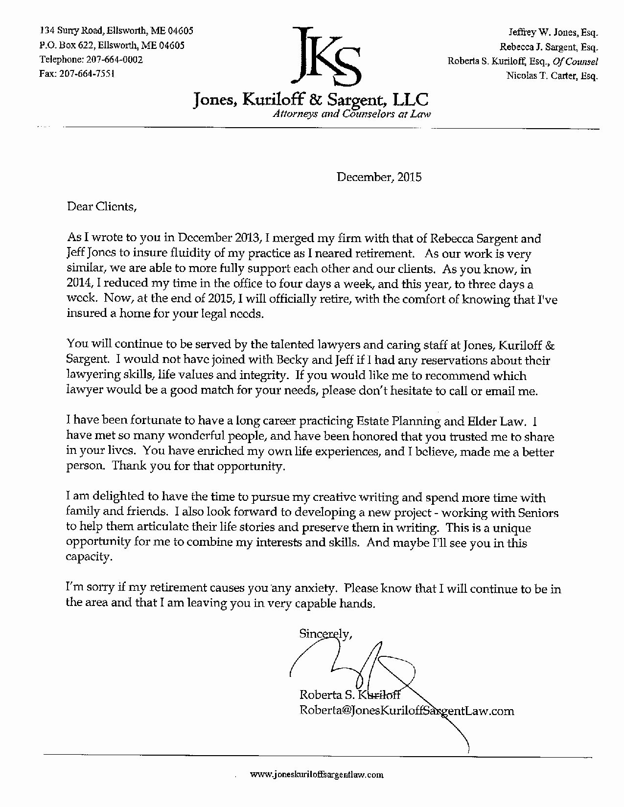 Retirement Letter to Clients New Roberta Retirement Letter 2015