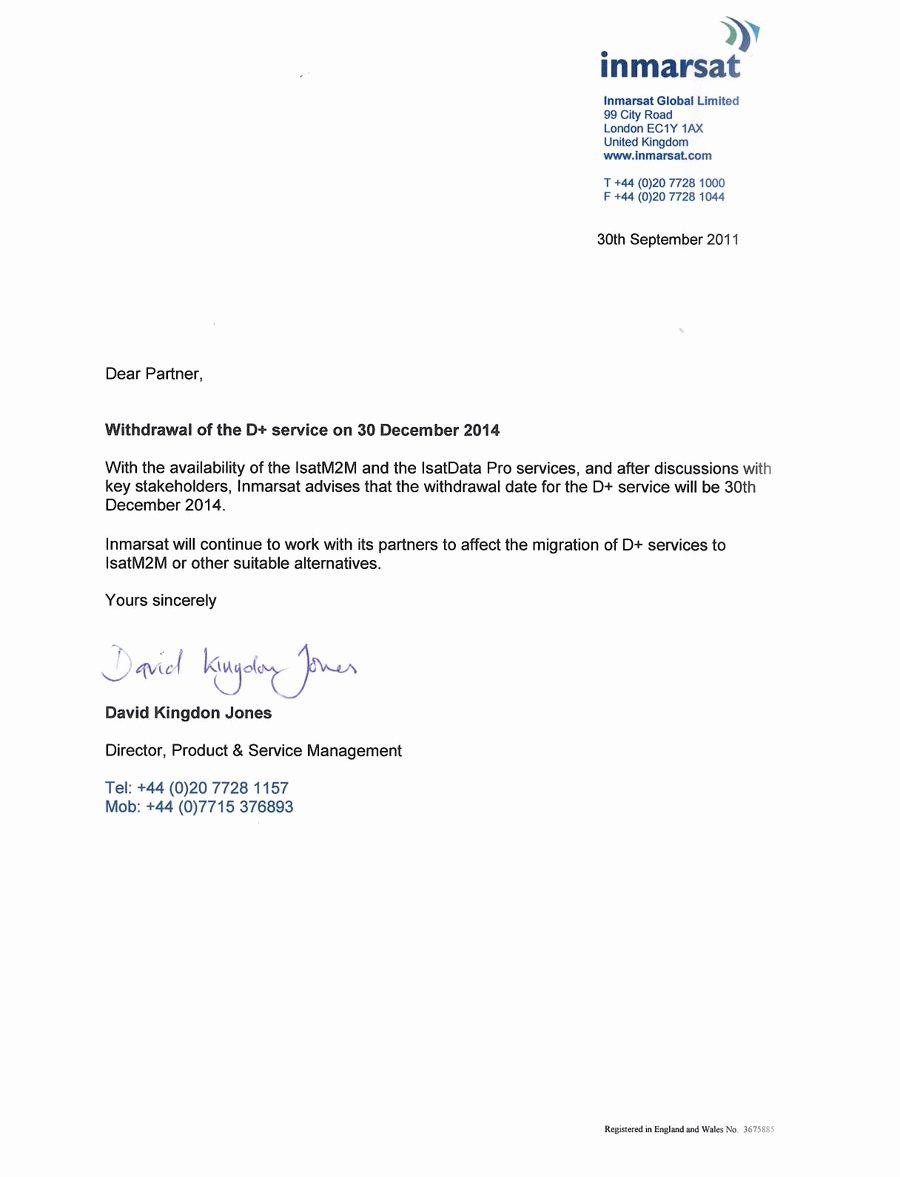 Retirement Letter to Clients Unique Inmarsat Phase Out the D Service