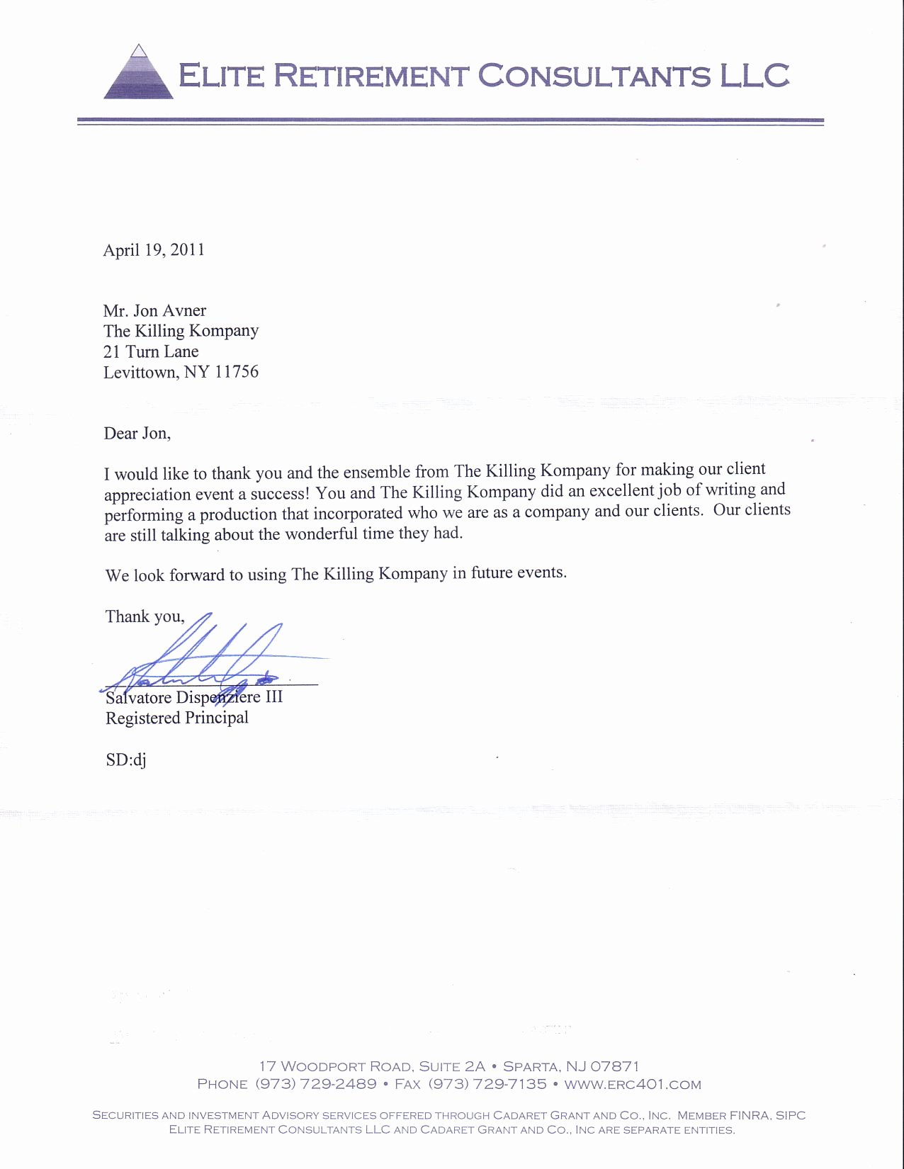 Retirement Letter to Clients Unique the Killing Kompany Murder Mystery Dinner theatre Shows