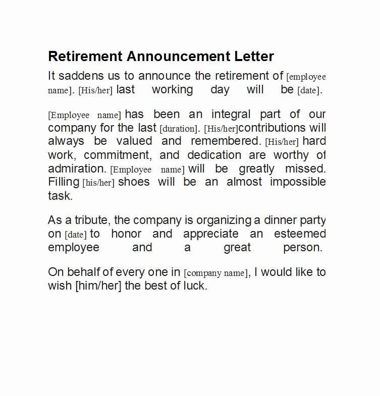 Retirement Letter to Employee Best Of 38 Professional Retirement Announcement Letters & Emails