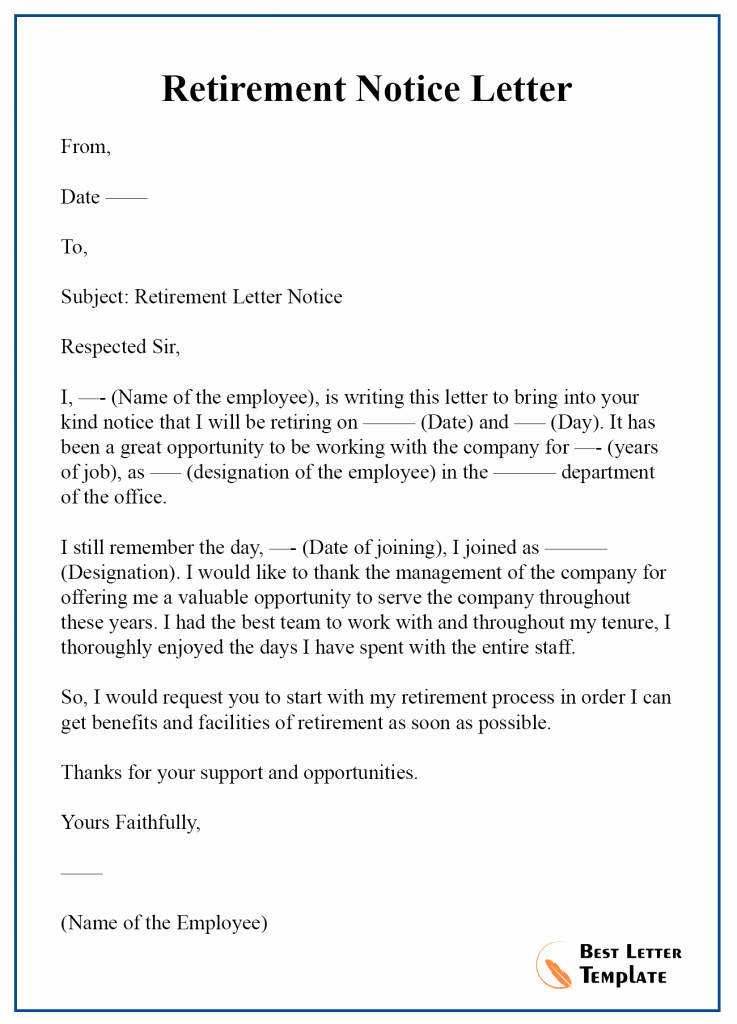 Retirement Letter to Employee Elegant Retirement Notice Letter Template – format Sample & Example