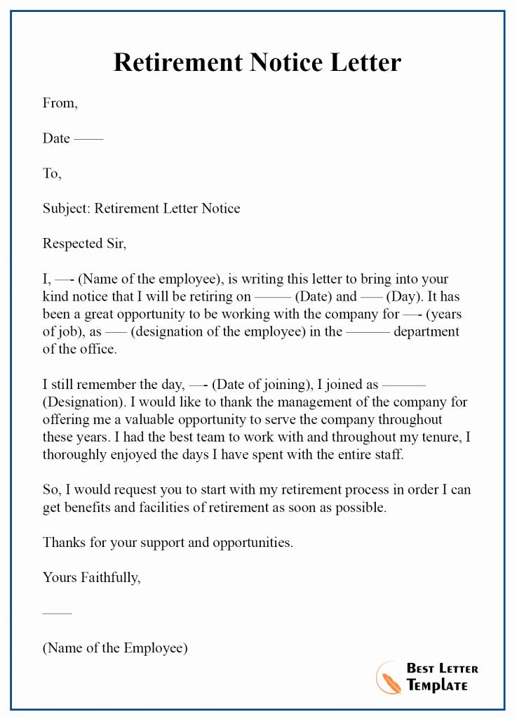 Retirement Letter to Employee Elegant Retirement Notice Letter Template – format Sample & Example