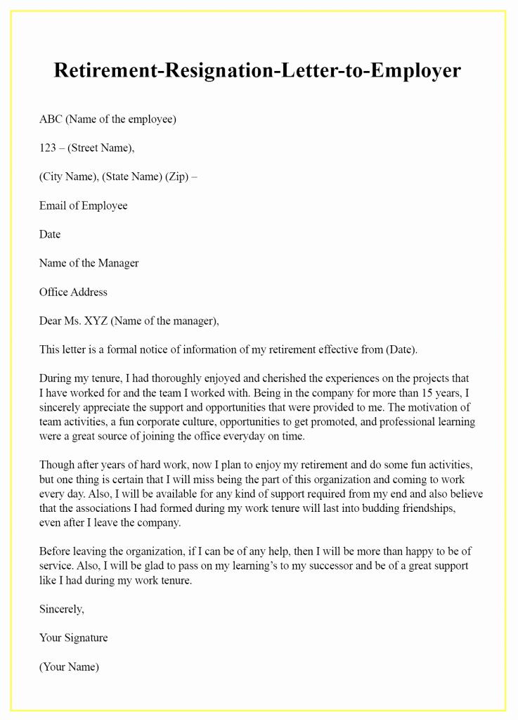Retirement Letter to Employee Fresh Retirement Resignation Letter to Employer – Sample & Example