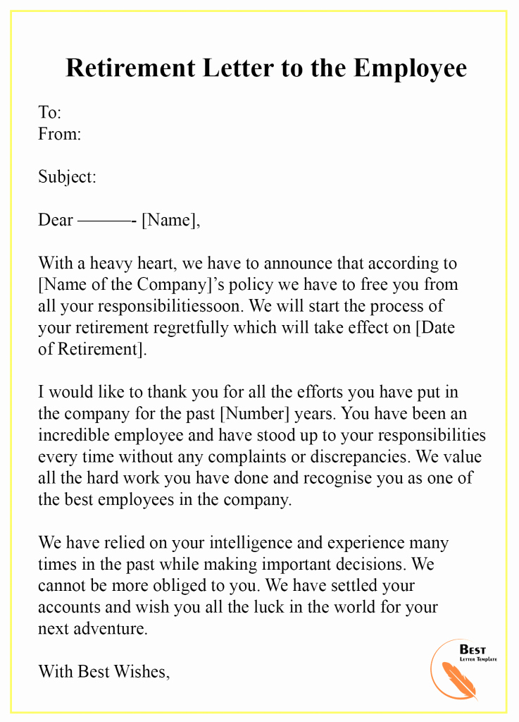 Retirement Letter to Employee Unique 7 Free Retirement Letter Template – format Sample