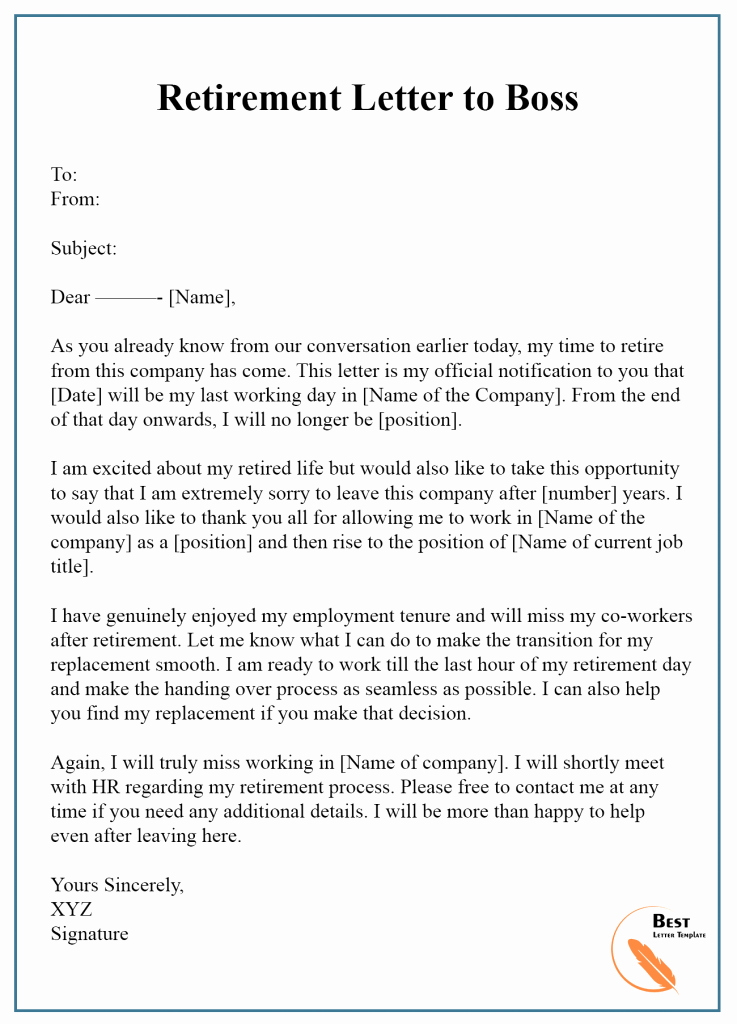 Retirement Letter to Employee Unique 7 Free Retirement Letter Template – format Sample